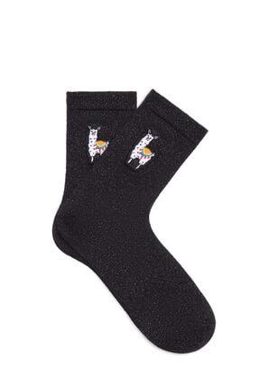 Picture of Alpaca Nakışlı Simli Siyah Soket Çorap