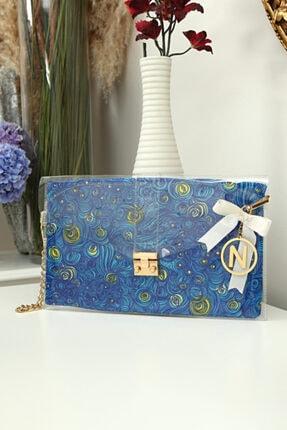 Kadın Gece Mavi Keseli Fancy Şeffaf Portföy & Clutch Çanta Mck014-015