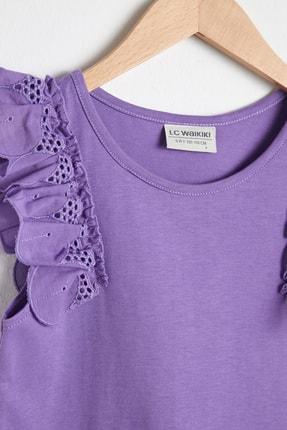 LC Waikiki Kız Çocuk Mor Fırfır Detaylı T-Shirt 1