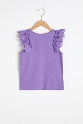 LC Waikiki Kız Çocuk Mor Fırfır Detaylı T-Shirt 2