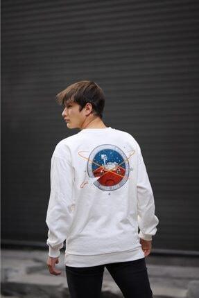 ILLUPION Unisex Beyaz Mars Baskılı Sweatshirt 1