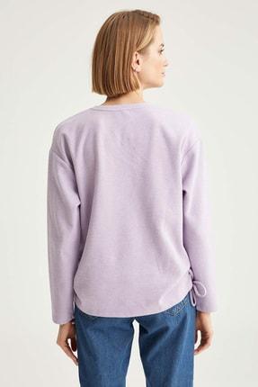 Defacto Kadın  Lılac Yanları Büzgü Detaylı Relax Fit Sweatshirt T2456AZ20WN 3