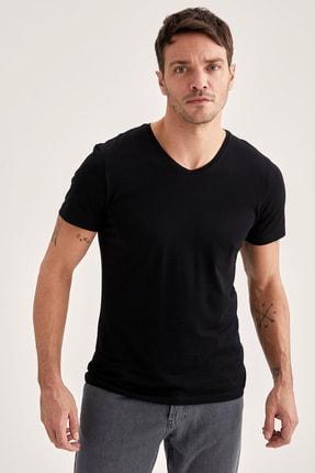 Defacto Slim Fit V Yaka Basic Premium Kalite Siyah Tişört 0