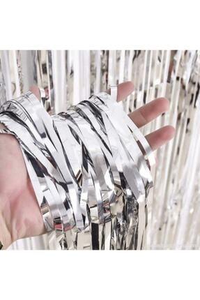 Deniz Yıldızı Sanat Işıltılı Püsküllü Arka Fon - Kapı Duvar Perdesi Metalik Gümüş Gri 1