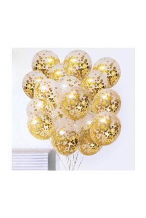 BalonEvi Gold Konfetili Şeffaf Balon Seti - 10 Adet 0