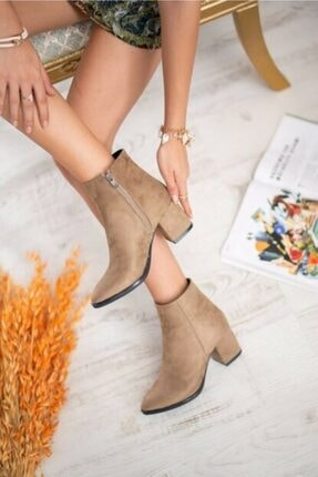 AYKMAR Kadın Bej Asper Topuklu Bot 0