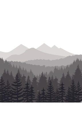 Henge Home Baskılı Duş Perde Orman Çam Desenli Dağ Siyah Beyaz Gri 3