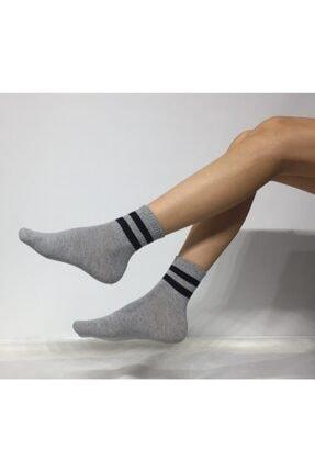 Adel Unisex Penye Çizgi Desenli Kolej Çorap 0