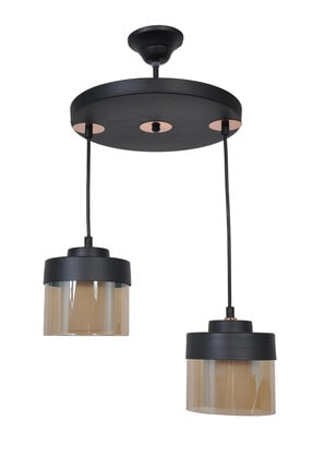 Sade Siyah Modern 2 Li Çift Cam Bal DKR-100-208