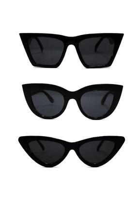 ModaLucci Kadın Güneş Gözlüğü 3 Lü Set Catset3sıyah 0