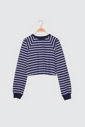 TRENDYOLMİLLA Lacivert Crop Örme  Sweatshirt TWOSS21SW0145 4