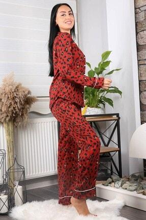 Neşeli Butik Kadın Kiremit Cepli Leopar Desenli Saten Pijama Takımı Nb7206 4