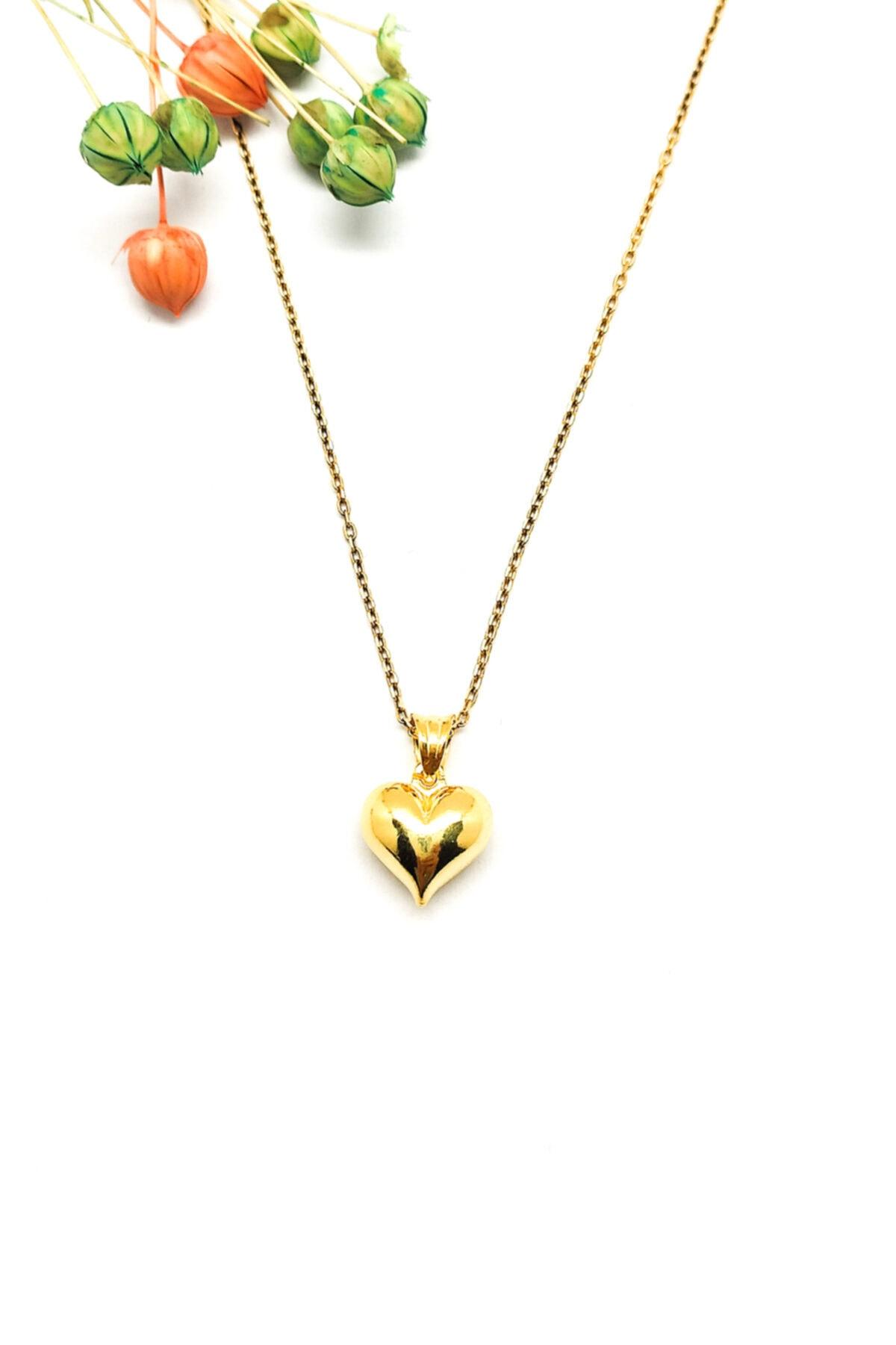 Kalp Figürlü Gold Renk Gümüş Kolye