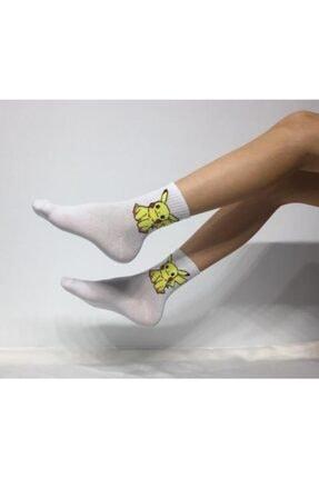 Adel Kokulu Unisex Pikachu(Pikaçu) Desenli  Kolej Çorap 0