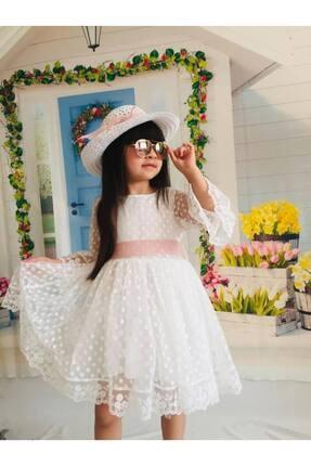 Buse&Eylül Bebe Kız Çocuk Ekru Şapkalı Tüllü Güpür Detaylı Elbise 0