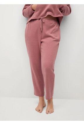 Mango Kadın Pembe Koton Pantolon 1