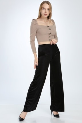 Ananas Kadın Siyah Kadife Pantolon 0