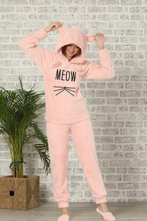 Pijamaevi Kadın Pembe Renkli Meow Desenli Tam Peluş Pijama Takımı 1