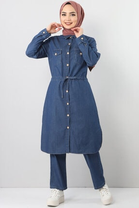 Kadın Mavi Beli Bağcıklı Ikili Kot Takım TSD1625