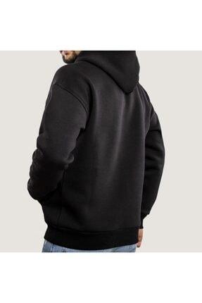 WELLHS Erkek Siyah Logo Nakışlı Oversize Sweatshirt 1