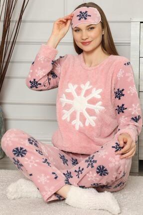 Pijamaevi Kadın Pembe Kartanesi Desenli  Peluş Pijama Takımı 1