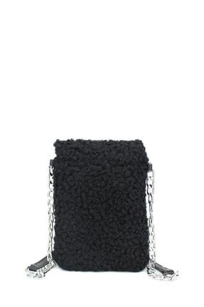 Housebags Peluş Omuz Askılı Siyah Cep Telefonu Çantası 199 1
