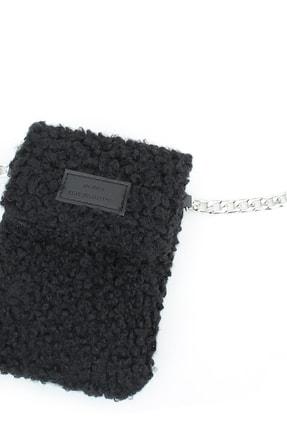 Housebags Peluş Omuz Askılı Siyah Cep Telefonu Çantası 199 2