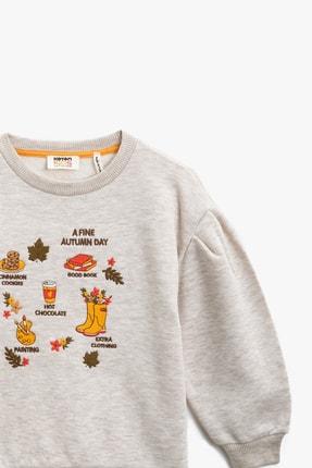 Koton Bej Melanj Kız Çocuk Sweatshirt 2