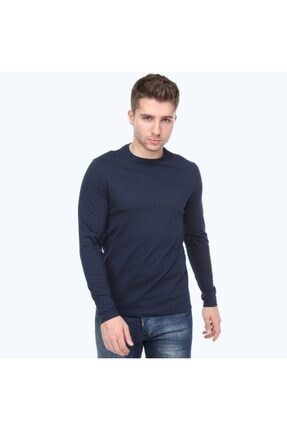 kamola Erkek Lacivert Uzun Kol Pamuk Coton T-shirt 2