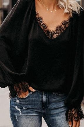 BLACK&GRACE Kadın Siyah Dokuma Krep Dantel Detaylı Bluz 0