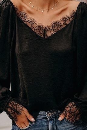 BLACK&GRACE Kadın Siyah Dokuma Krep Dantel Detaylı Bluz 1