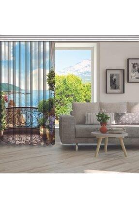 Henge Home Mavi Deniz Manzaralı Çiçekli Balkon Fon Perde 4