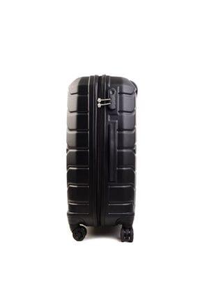 GROUND Unisex Siyah Büyük Boy Sert Plastik Valiz 2