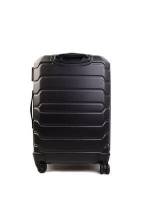 GROUND Unisex Siyah Büyük Boy Sert Plastik Valiz 3