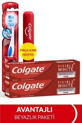 Colgate Visible White Maksimum Beyazlık Diş Macunu 75 ml x 2 Adet + Fırça Kabı Hediye 0