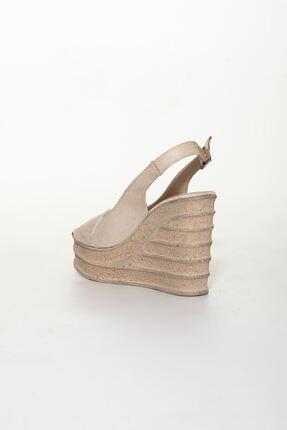 derithy Kadın Bej Süet Dolgu Topuklu Ayakkabı 3