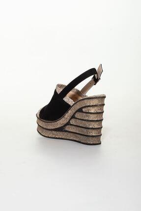 derithy Kadın Siyah Süet Dolgu Topuklu Ayakkabı 3