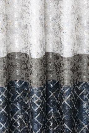 Brillant Mavi Pileli  Panel Fon Perde 70x270 cm 1