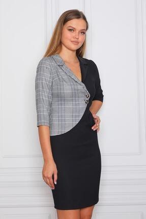 Element's Kadın Siyah Beyaz Ekoseli Kruvaze Ve Çizgili Ofis Elbisesi 2