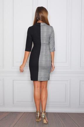 Element's Kadın Siyah Beyaz Ekoseli Kruvaze Ve Çizgili Ofis Elbisesi 4