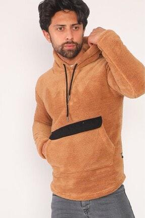 sedtu Unisex Kahverengi Kanguru Cepli Kapüşonlu Peluş Sweatshirt 1