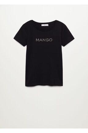 Mango Kadın Siyah Organik Pamuklu Logolu Tişört 3