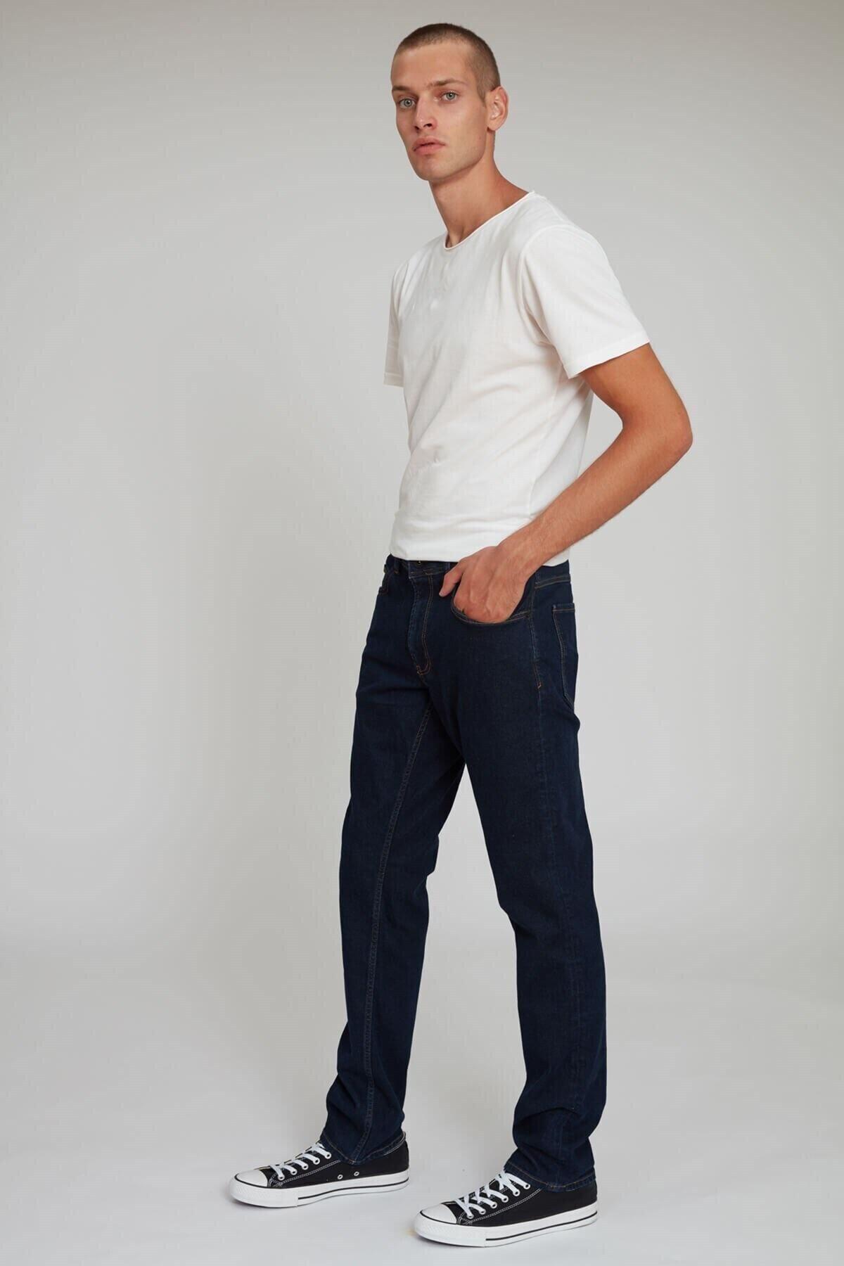 Erkek Lacivert Regular Fit Fere Kot Pantolon