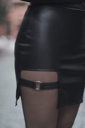 Melsa Official Kadın Siyah Toka Detay Deri Etek 2