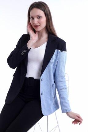 Kadın Modası Kadın Siyah Yakalı Yanı Kot Garnili Astarlı Ceket 3