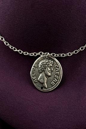 MOONİ ACCESSORİES Antik Roma Madalyon Mat Gümüş Kaplama Zincir Kolye 0