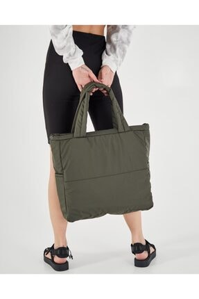 Shule Bags Kabartmalı Puf Kumaş Shopper Çanta Napoli Haki 4