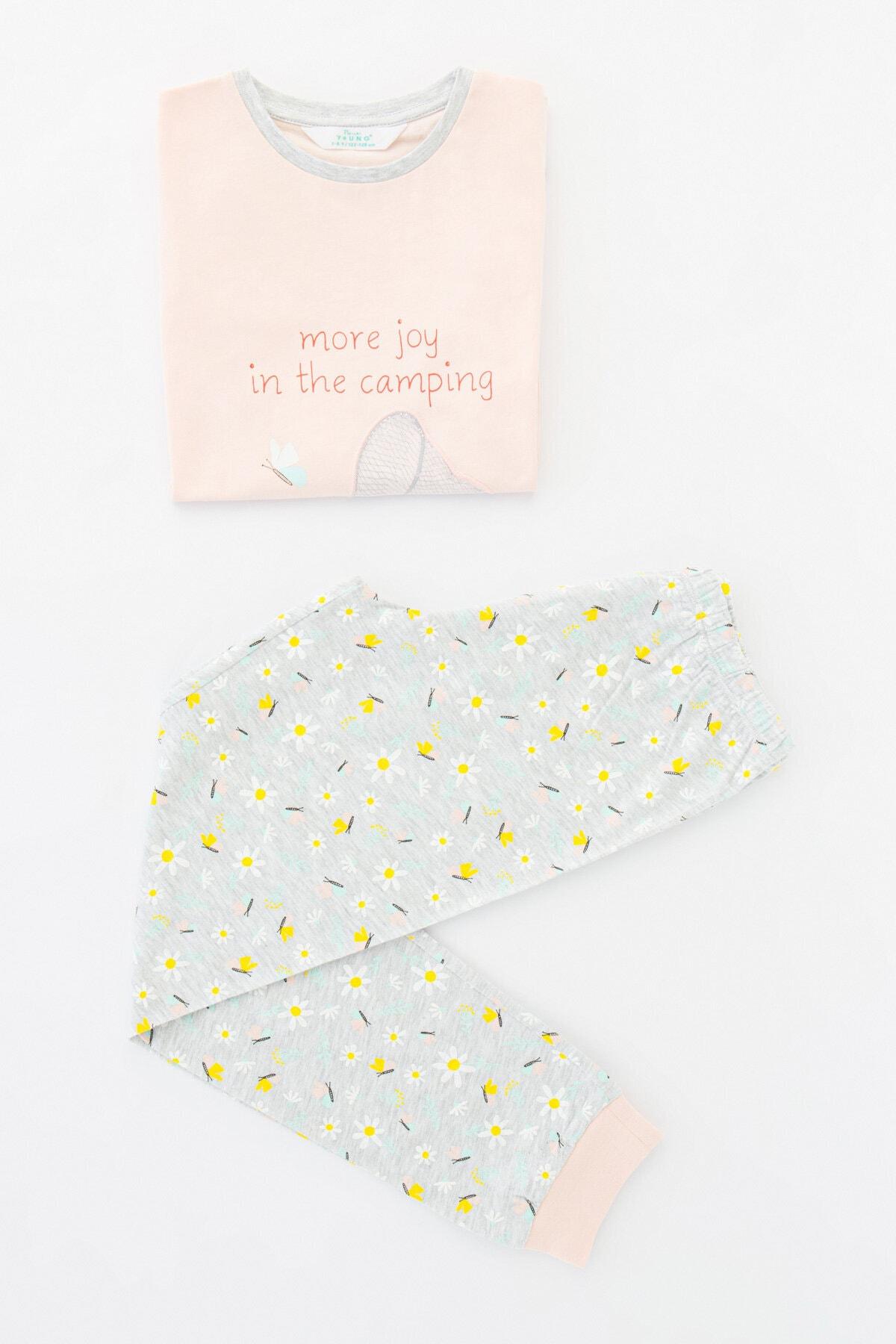 Penti Kız Çocuk Çok Renkli Campıng Joy Ls 2li Pijama Takımı 4