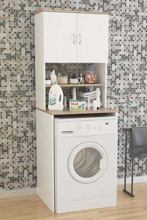 Aeka Ae-2042 Solo Çamaşır Makinesi Dolabı, Banyo Dolabı, 4 Raflı, Kapaklı, Beyaz Dolap 2