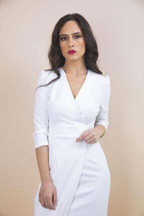 Ayhan Kadın Beyaz Kruvaze Bağlamalı Elbise 2